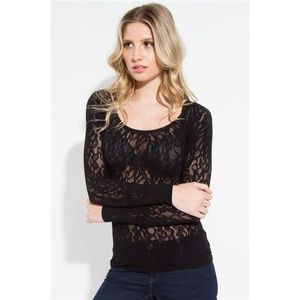 SugarLIps Seamless Lace Long Sleeve Top Black